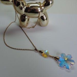 Long Necklace Sun Catcher Crystal Iridescent Gold